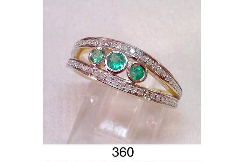 Купить Кольцо с бриллиантами и с изумрудами 400$
