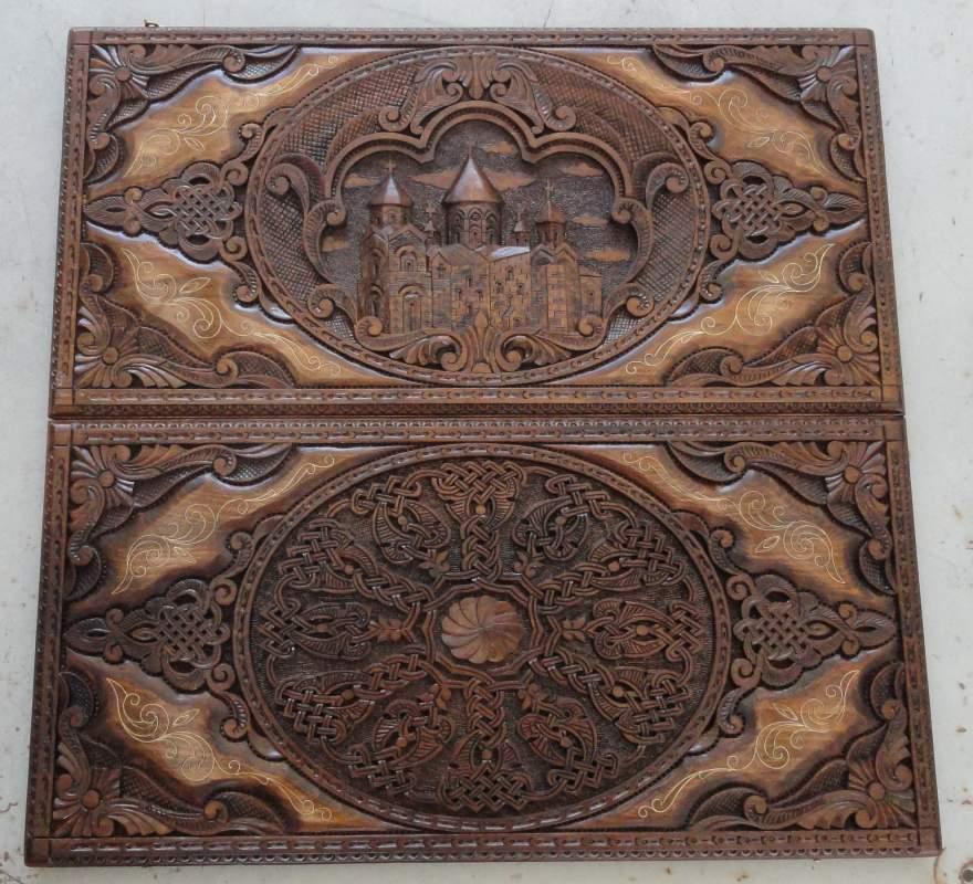 Купить Нарды ручной работы,дерево-орех,бук,инкрустированы серебром высшей пробы,размеры 60*60 см