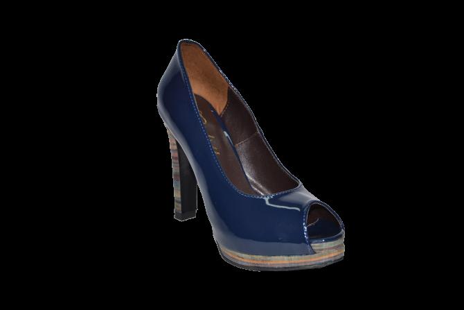 Купить Туфли вусокая платформа и каблук открытый носок синий код 1044