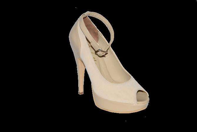 Купить Туфли вусокая платформа и каблук открытый носок бежевый код 1041