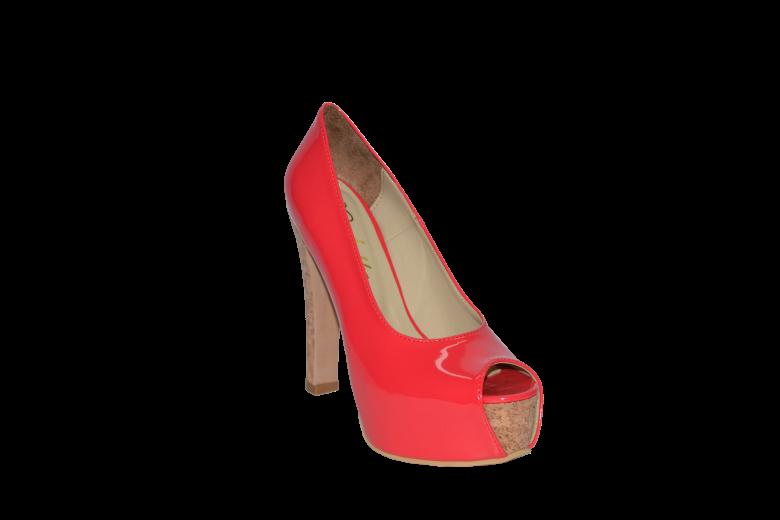 Купить Туфли высокая платформа каблук из пробки красный лакированный код 1133