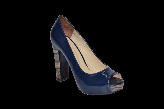Купить Туфли вусокая платформа и каблук открытый носок синий код 703