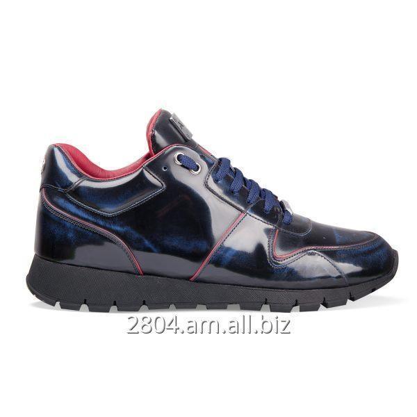 Купить Мужские ботинки сникерсы синие кожаные