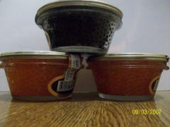 Caviar of fish trout granular