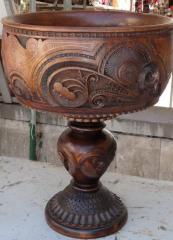 Ваза декоративная ручной работы дерево-орех(ценная