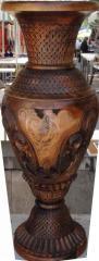 Ваза декоративная ручной работы дерево-орех(ценная порода) инкрустирована серебром высшей пробы выс.67см диам.29см ВОЗМОЖЕН ЭКСПОРТ,допустимы отличия орнамента от оригинала