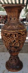 Ваза декоративная ручной работы дерево-орех(ценная порода)выс.75см диам.33см ВОЗМОЖЕН ЭКСПОРТ