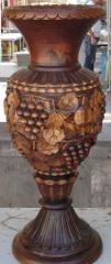 Ваза декоративная ручной работы дерево-орех(ценная порода) выс.47см диам.21см ВОЗМОЖЕН ЭКСПОРТ,допустимы отличия орнамента от оригинала