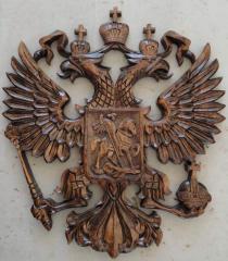 Герб России ручной работы,дерево-орех,диам.20-30см.