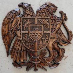 Герб Армении ручной работы,дерево-орех,диаметр 20-30см.