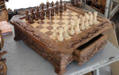 Handwork chess, tree nut, beech, the sizes of