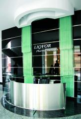 Glass furniture, office furniture, reception desks