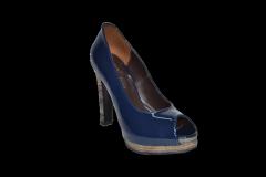 Туфли вусокая платформа и каблук открытый носок синий код 1044