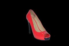 Shoes high platform graceful heel red varnished