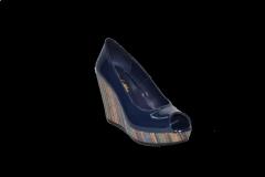 Туфли высокая танкетка открытый носок синий лакированный код 1030