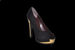 Туфли вусокая платформа и каблук открытый носок черный замш код 1084