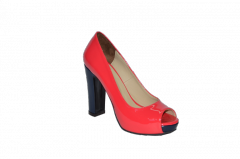 Туфли вусокая платформа и каблук открытый носок красный код 703