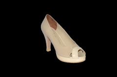 Туфли платформа средний каблук открытый носок бежевый код 1131