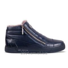 Мужские ботинки сникерсы, кожаные с мехом