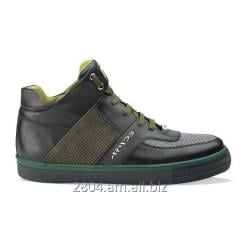 Мужские сникерсы кожаные хаки зелёные и чёрные