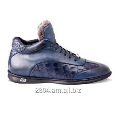 Тёмно-синие кожаные сапоги 2031