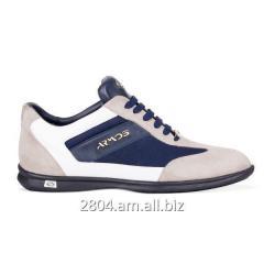 Бежевые замшевые и джинсовые мужские ботинки