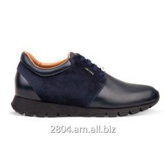 Мужские ботинки синие кожаные и замшевые