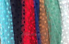 Сетка в бархатный горошек для вечерних платьев