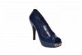 Туфли вусокая платформа и каблук открытый носок синий код 655-703