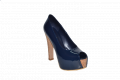 Туфли высокая платформа каблук из пробки синий лакированный
