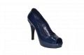 Туфли вусокая платформа и каблук открытый носок синий код 655